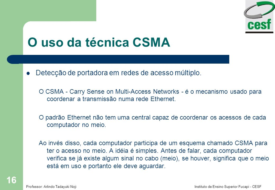 O uso da técnica CSMA Detecção de portadora em redes de acesso múltiplo.