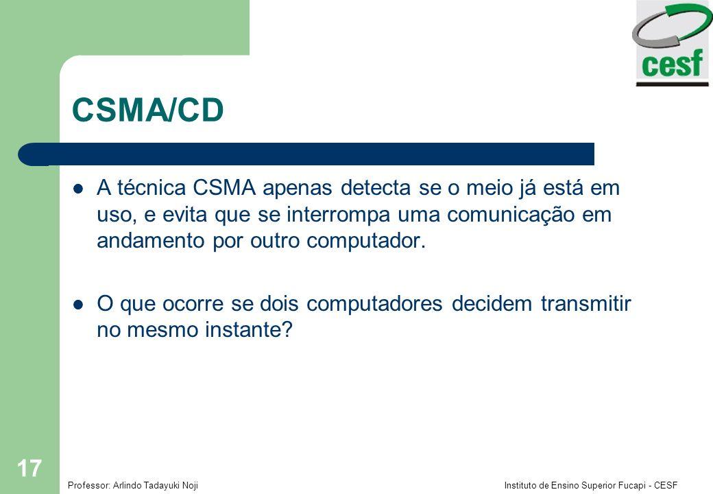 CSMA/CD A técnica CSMA apenas detecta se o meio já está em uso, e evita que se interrompa uma comunicação em andamento por outro computador.
