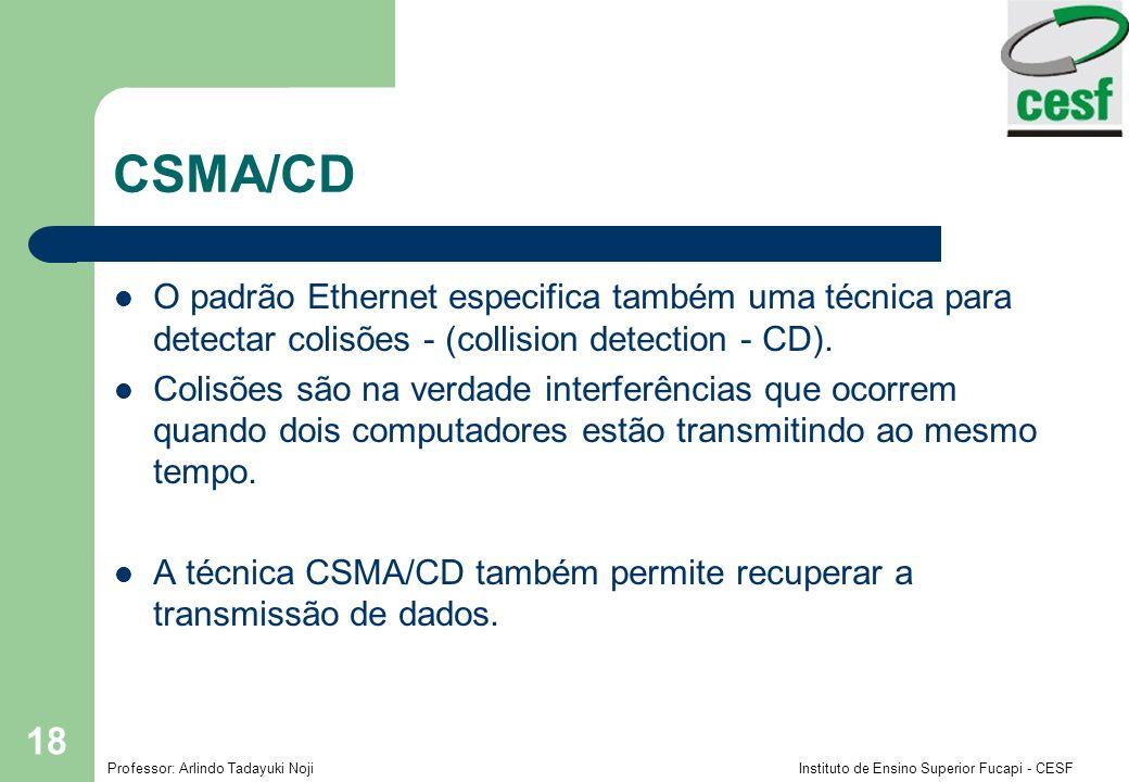 CSMA/CD O padrão Ethernet especifica também uma técnica para detectar colisões - (collision detection - CD).