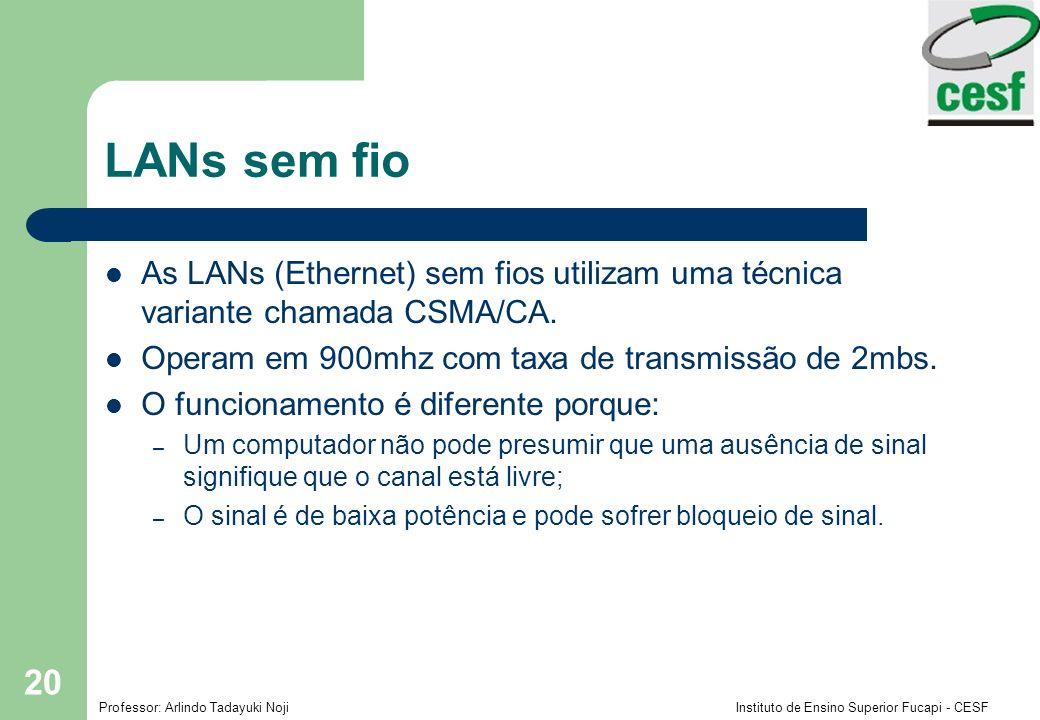LANs sem fio As LANs (Ethernet) sem fios utilizam uma técnica variante chamada CSMA/CA. Operam em 900mhz com taxa de transmissão de 2mbs.