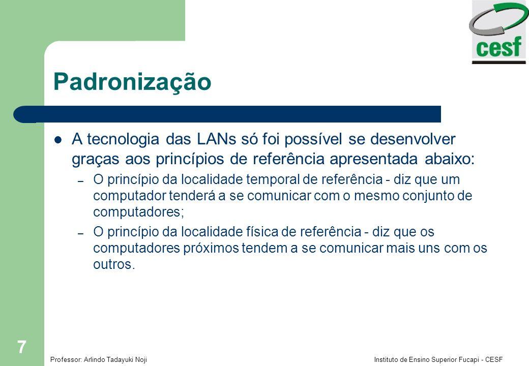 Padronização A tecnologia das LANs só foi possível se desenvolver graças aos princípios de referência apresentada abaixo: