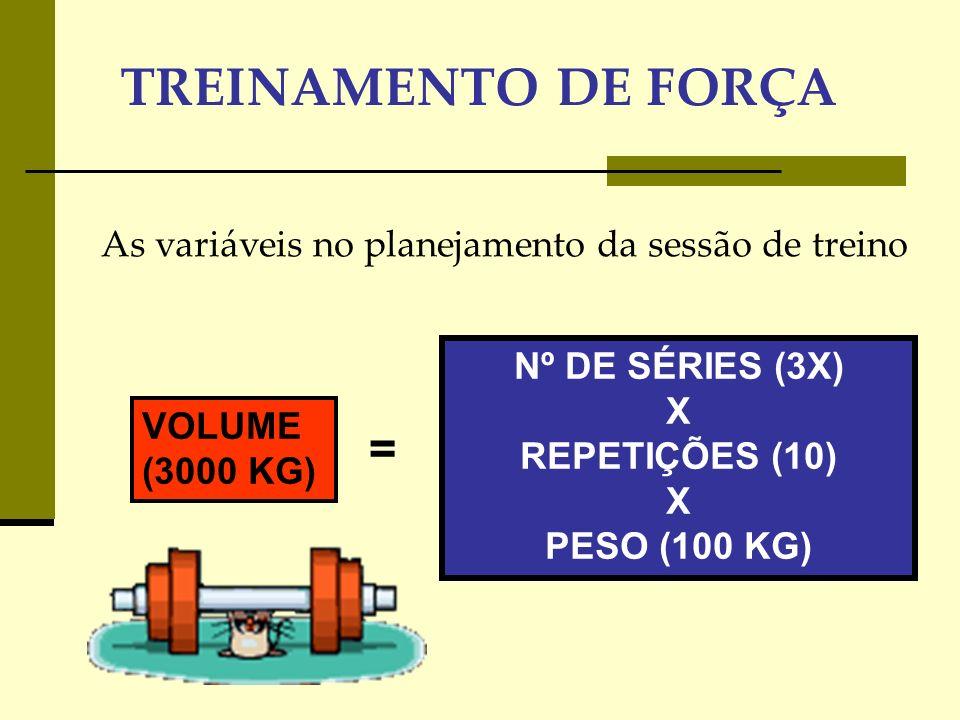 Nº DE SÉRIES (3X) X REPETIÇÕES (10) X PESO (100 KG)