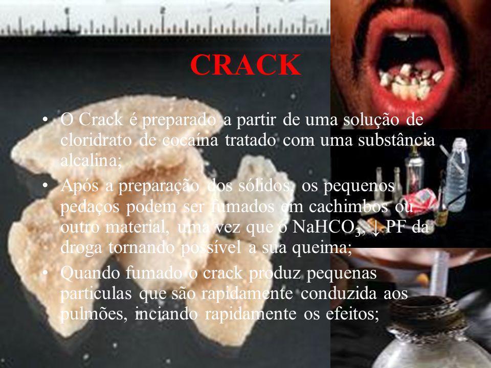 CRACK O Crack é preparado a partir de uma solução de cloridrato de cocaína tratado com uma substância alcalina;