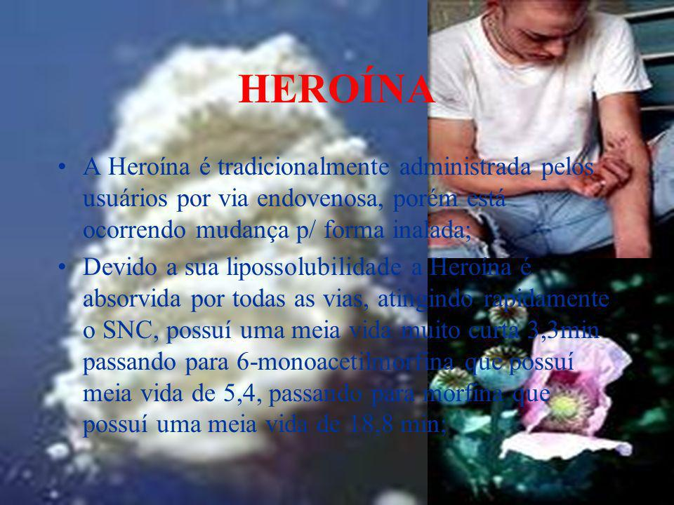 HEROÍNAA Heroína é tradicionalmente administrada pelos usuários por via endovenosa, porém está ocorrendo mudança p/ forma inalada;