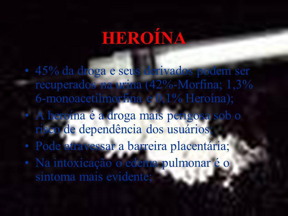HEROÍNA45% da droga e seus derivados podem ser recuperados na urina (42%-Morfina; 1,3% 6-monoacetilmorfina e 0,1% Heroína);
