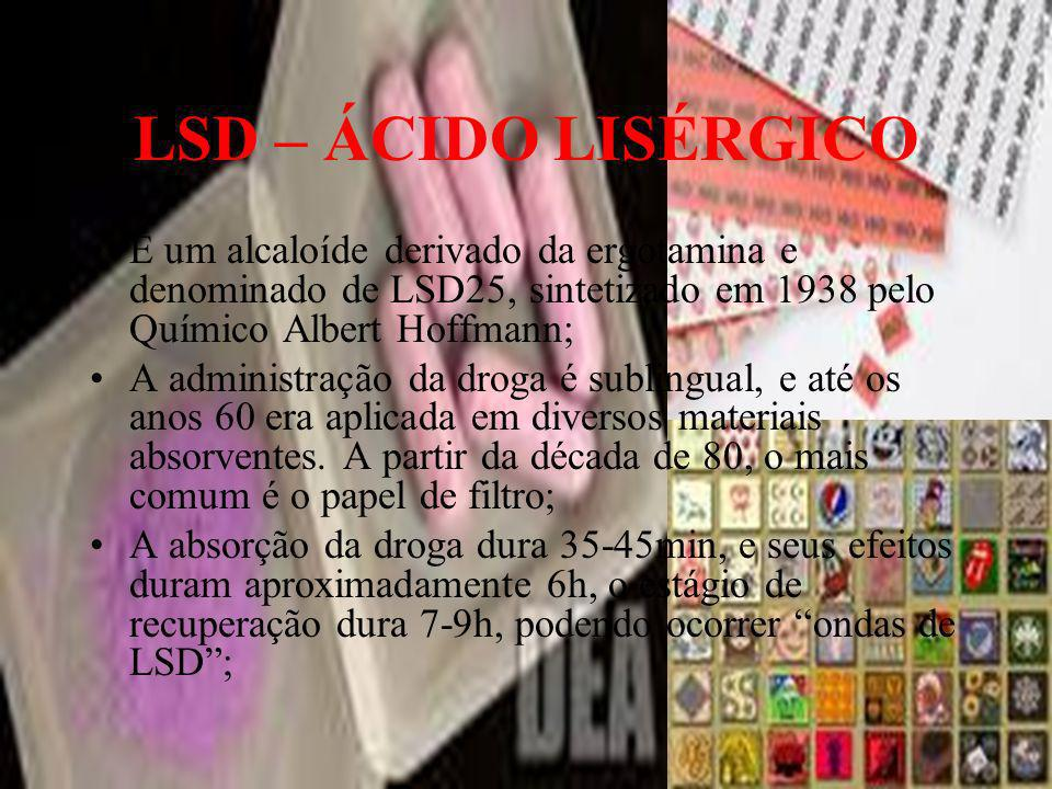 LSD – ÁCIDO LISÉRGICO É um alcaloíde derivado da ergotamina e denominado de LSD25, sintetizado em 1938 pelo Químico Albert Hoffmann;