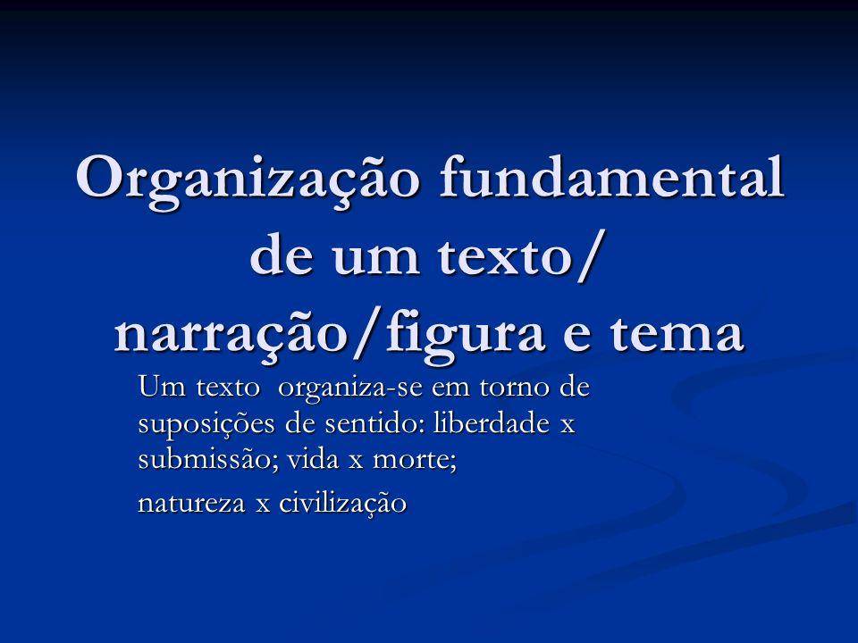 Organização fundamental de um texto/ narração/figura e tema