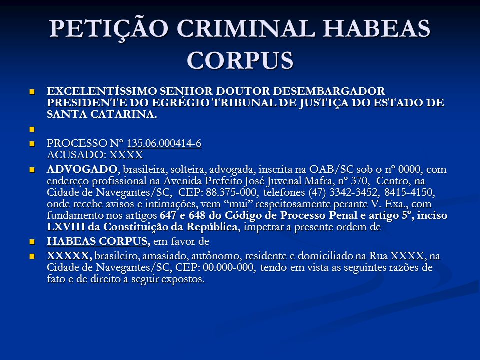 PETIÇÃO CRIMINAL HABEAS CORPUS