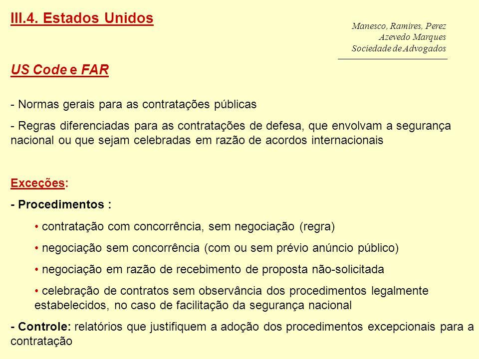 III.4. Estados Unidos US Code e FAR