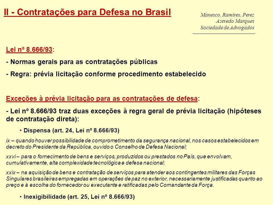 II - Contratações para Defesa no Brasil