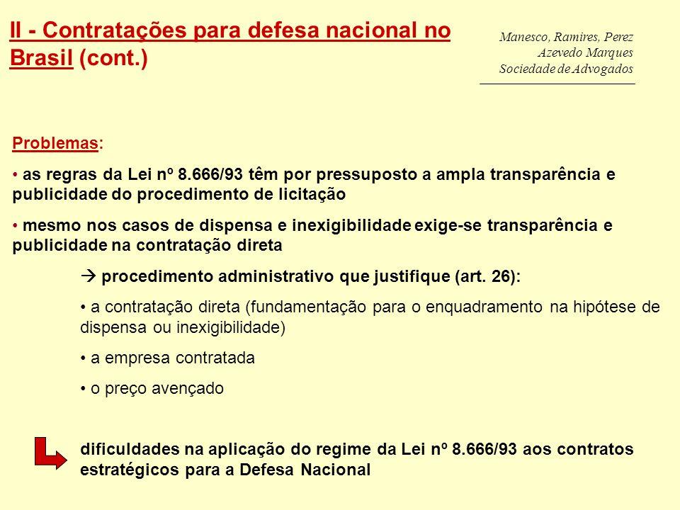 II - Contratações para defesa nacional no Brasil (cont.)