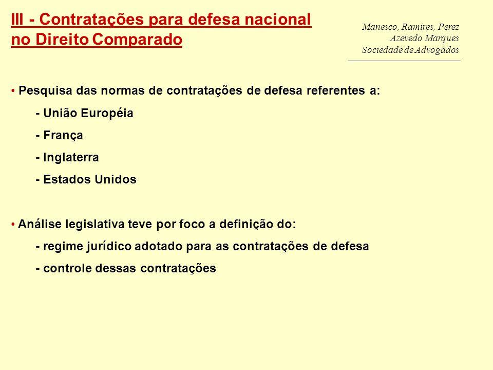 III - Contratações para defesa nacional no Direito Comparado