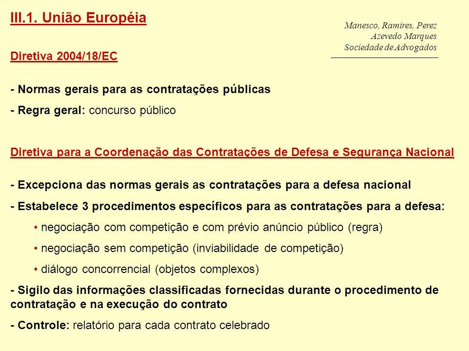 III.1. União Européia Diretiva 2004/18/EC