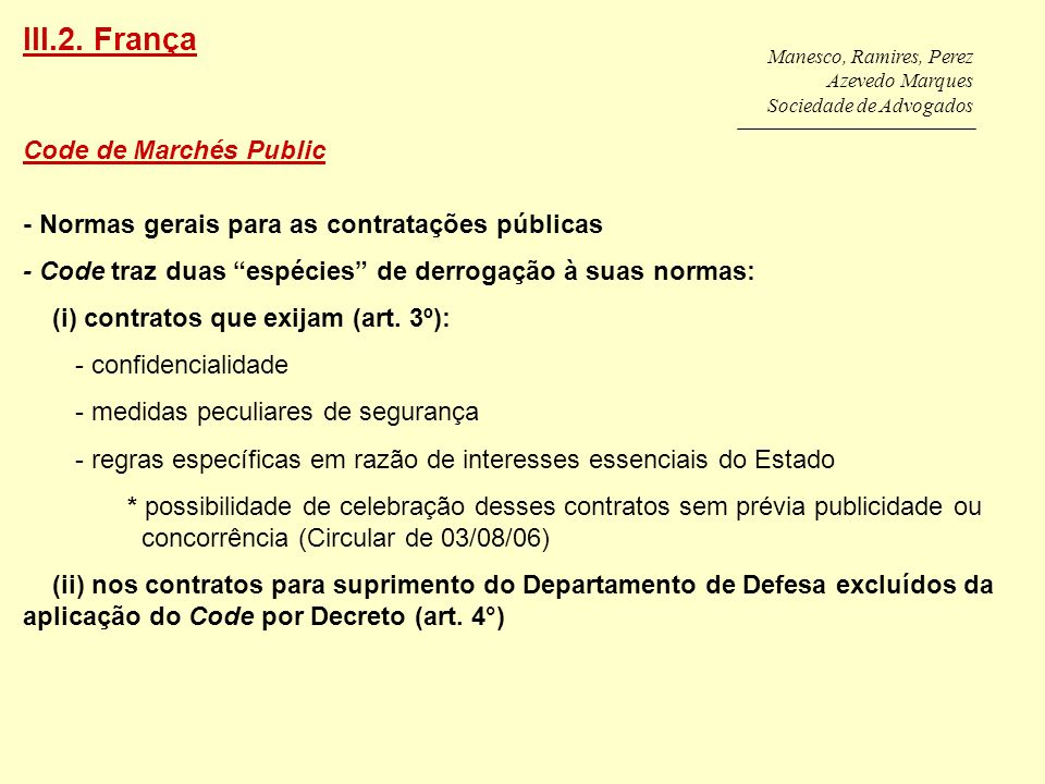 III.2. França Code de Marchés Public