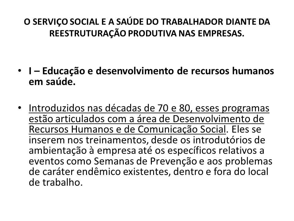 I – Educação e desenvolvimento de recursos humanos em saúde.