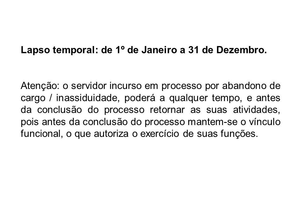 Lapso temporal: de 1º de Janeiro a 31 de Dezembro.
