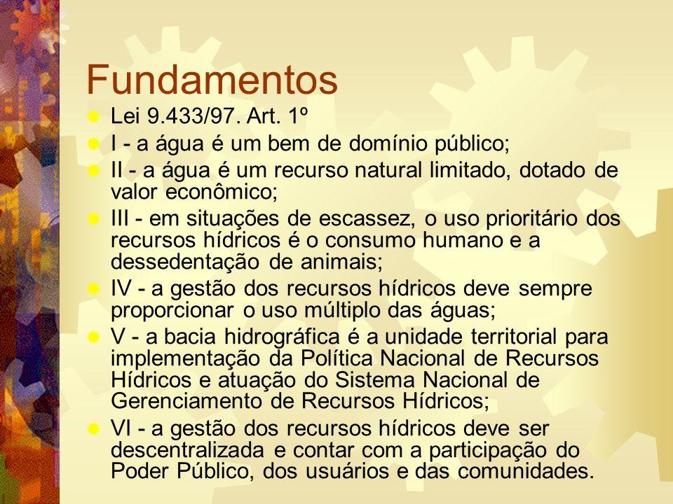 Fundamentos Lei 9.433/97. Art. 1º. I - a água é um bem de domínio público; II - a água é um recurso natural limitado, dotado de valor econômico;