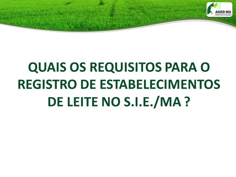 QUAIS OS REQUISITOS PARA O REGISTRO DE ESTABELECIMENTOS DE LEITE NO S