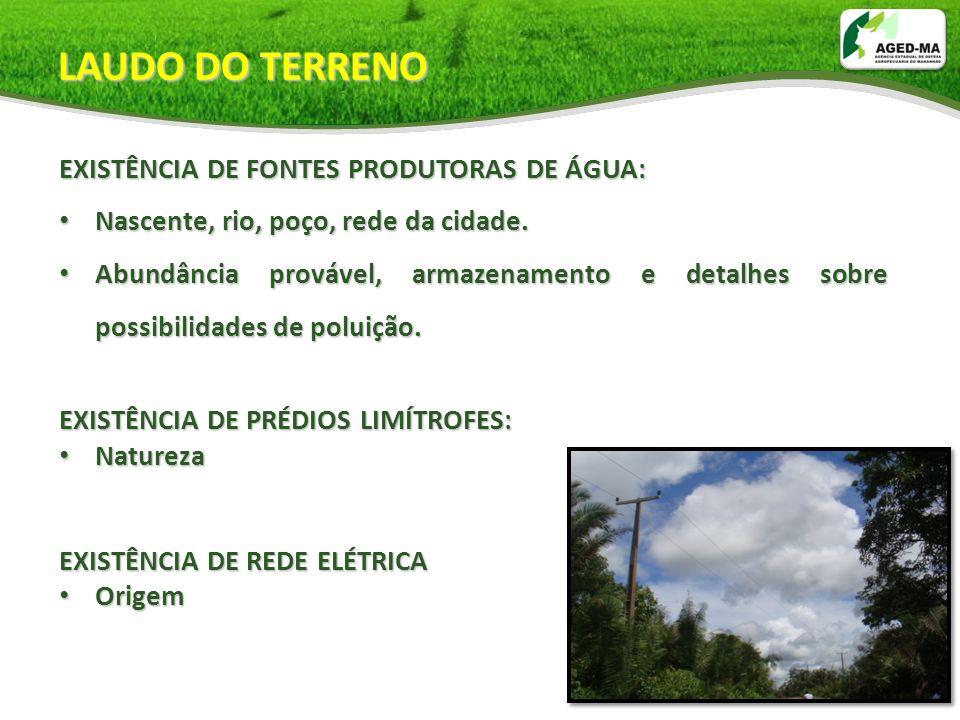 LAUDO DO TERRENO EXISTÊNCIA DE FONTES PRODUTORAS DE ÁGUA:
