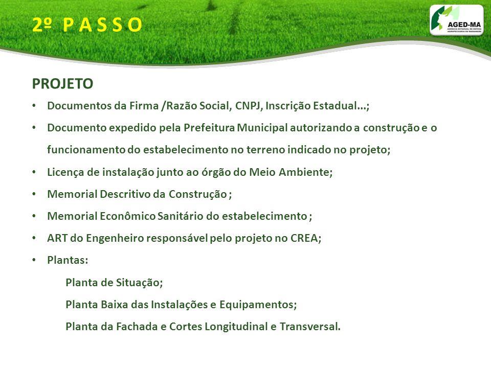 2º P A S S O PROJETO. Documentos da Firma /Razão Social, CNPJ, Inscrição Estadual...;
