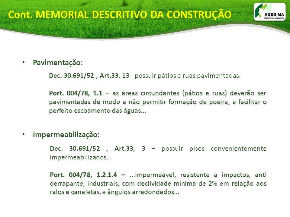 Cont. MEMORIAL DESCRITIVO DA CONSTRUÇÃO