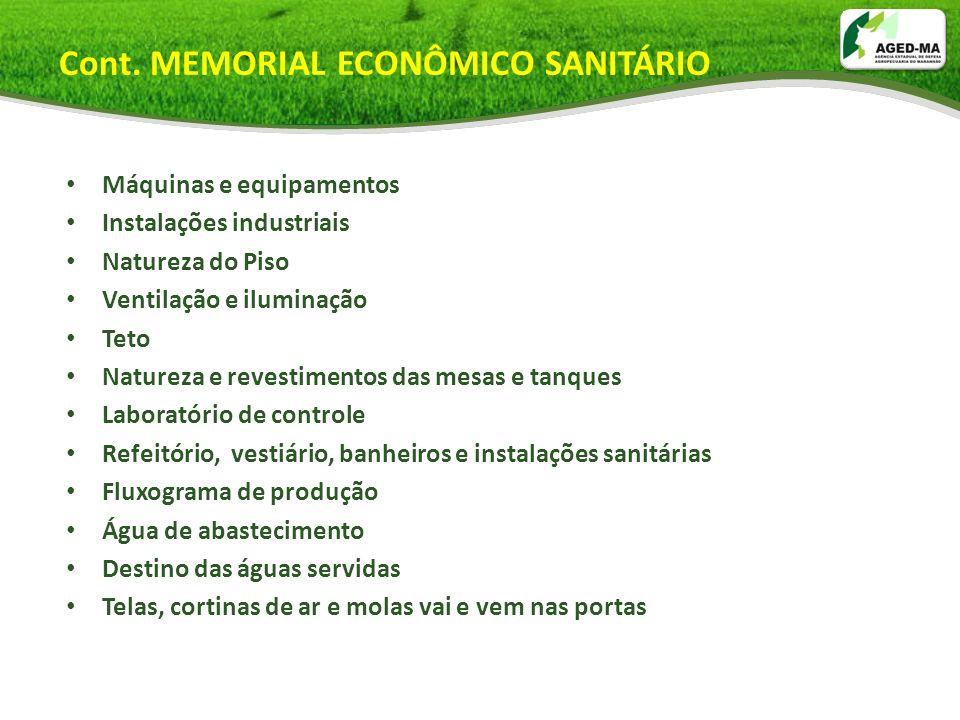 Cont. MEMORIAL ECONÔMICO SANITÁRIO