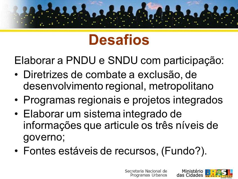 Desafios Elaborar a PNDU e SNDU com participação: