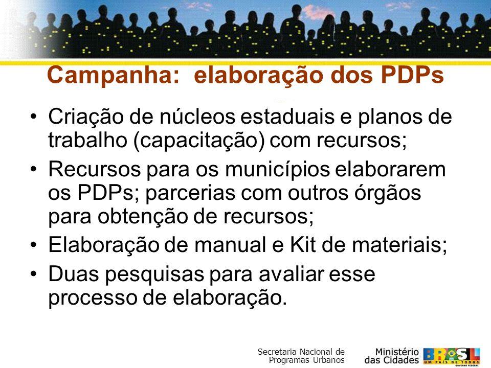 Campanha: elaboração dos PDPs