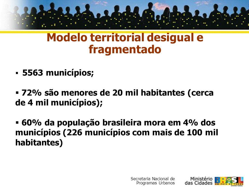 Modelo territorial desigual e fragmentado