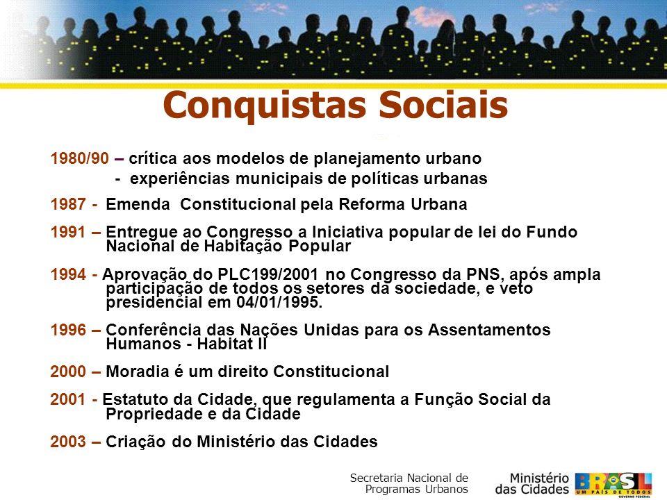 Conquistas Sociais 1980/90 – crítica aos modelos de planejamento urbano. - experiências municipais de políticas urbanas.