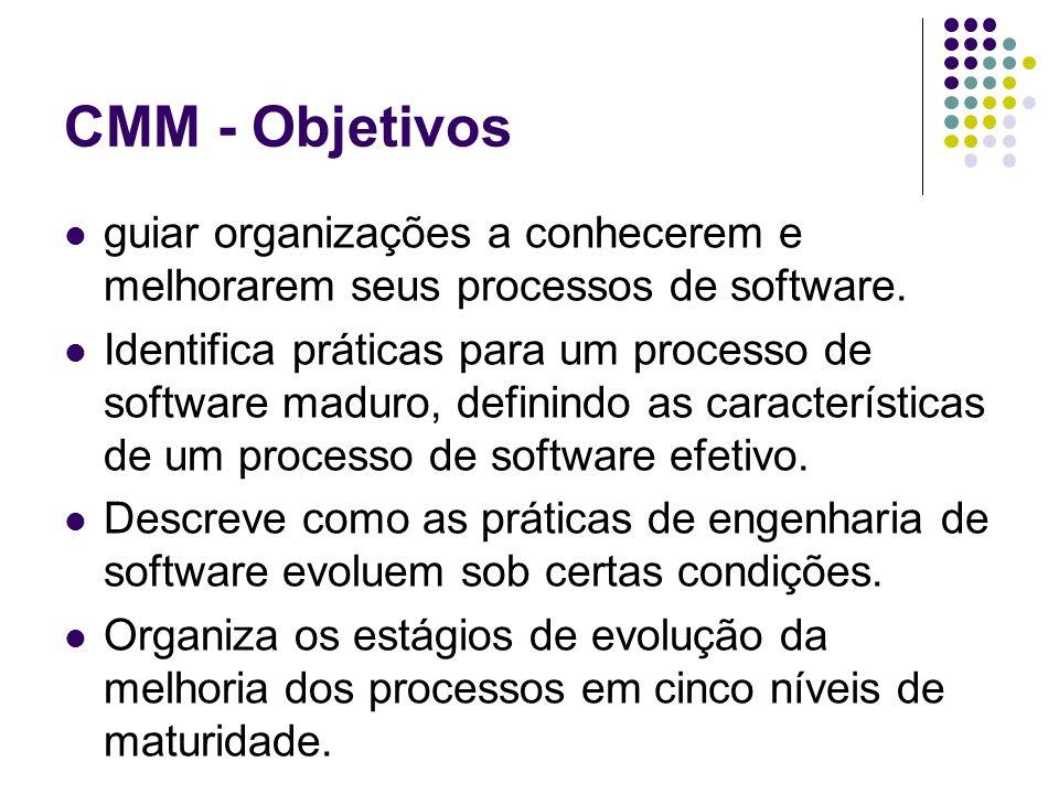 CMM - Objetivos guiar organizações a conhecerem e melhorarem seus processos de software.
