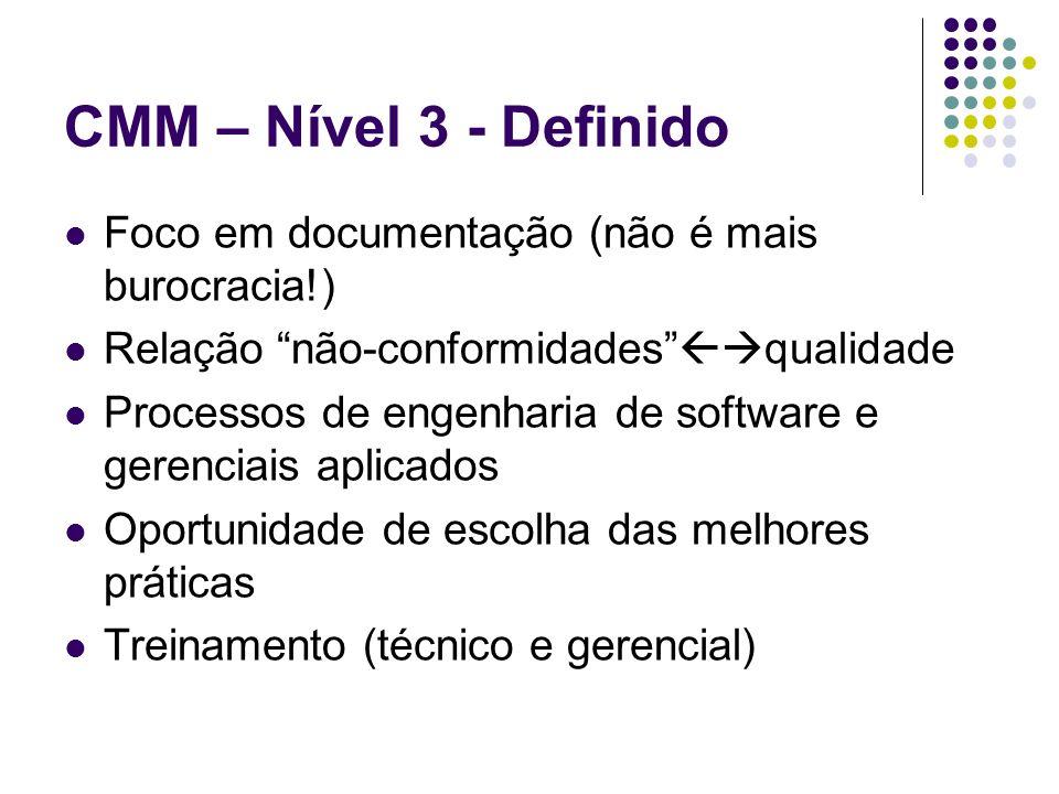 CMM – Nível 3 - Definido Foco em documentação (não é mais burocracia!)