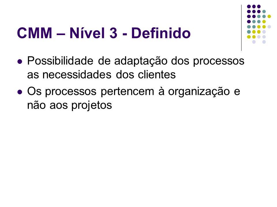 CMM – Nível 3 - Definido Possibilidade de adaptação dos processos as necessidades dos clientes.