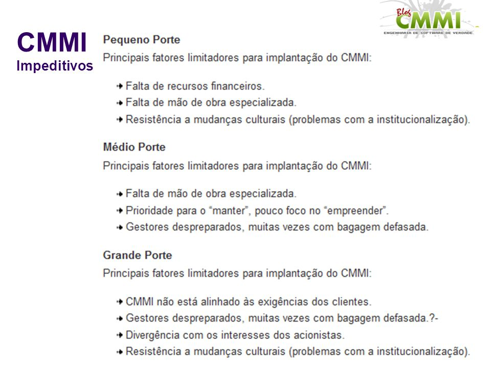 CMMI Impeditivos