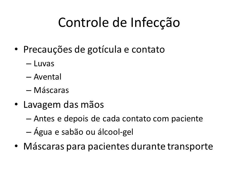 Controle de Infecção Precauções de gotícula e contato Lavagem das mãos