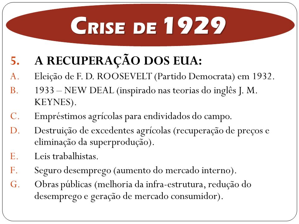 CRISE DE 1929 A RECUPERAÇÃO DOS EUA: