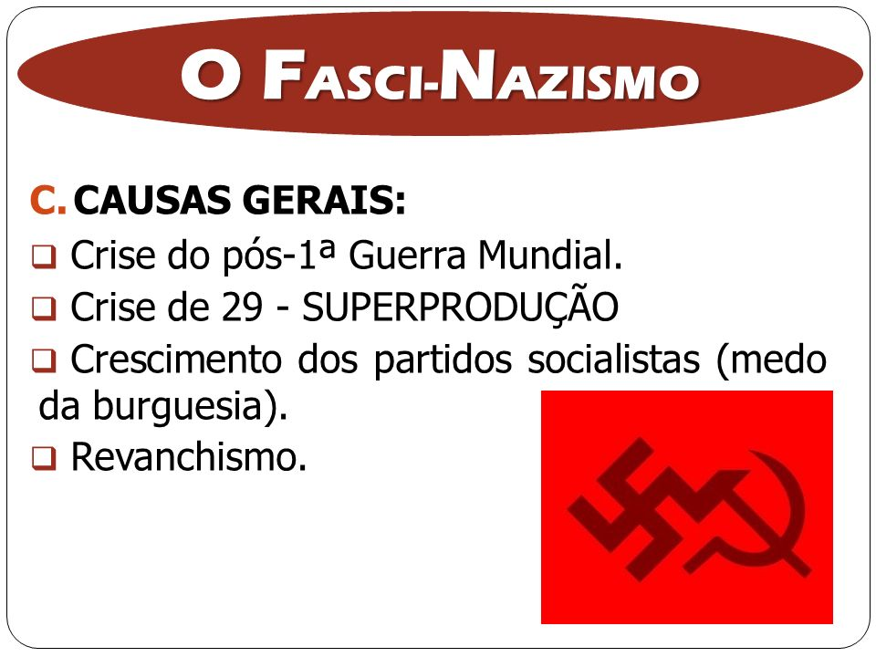 O FASCI-NAZISMO CAUSAS GERAIS: Crise do pós-1ª Guerra Mundial.