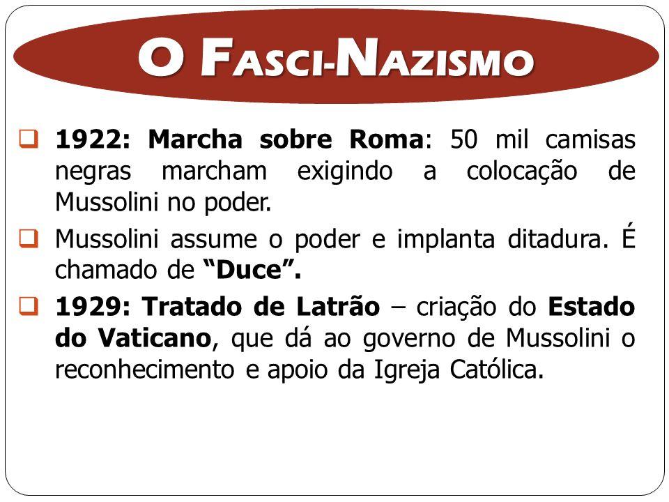 O FASCI-NAZISMO 1922: Marcha sobre Roma: 50 mil camisas negras marcham exigindo a colocação de Mussolini no poder.