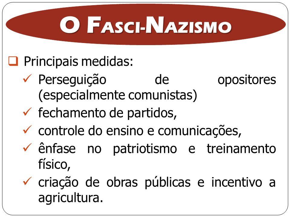 O FASCI-NAZISMO Principais medidas: