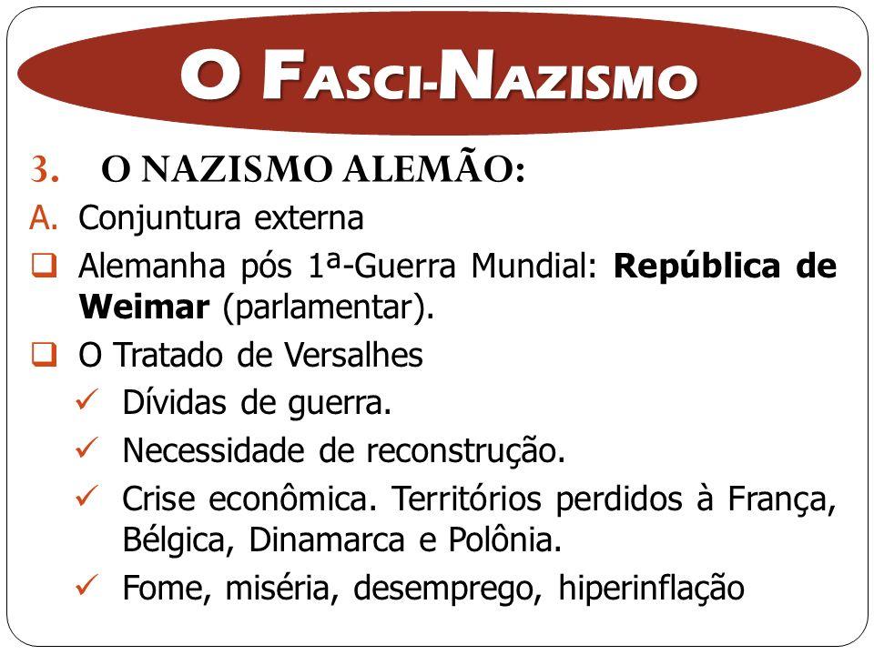 O FASCI-NAZISMO O NAZISMO ALEMÃO: Conjuntura externa