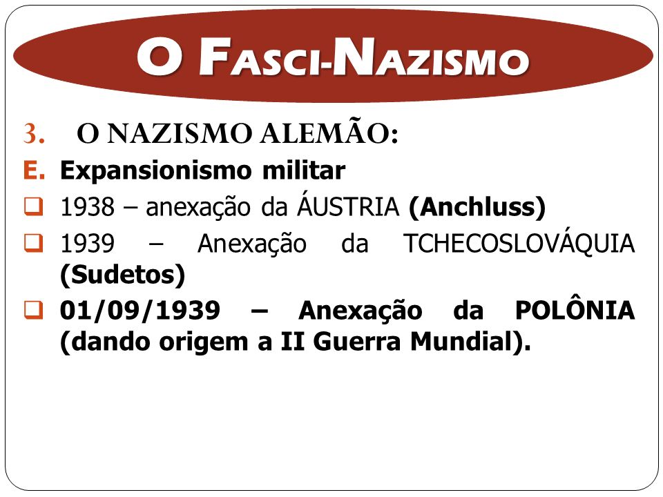 O FASCI-NAZISMO O NAZISMO ALEMÃO: Expansionismo militar
