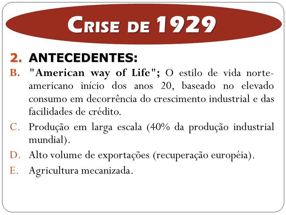 CRISE DE 1929 ANTECEDENTES: