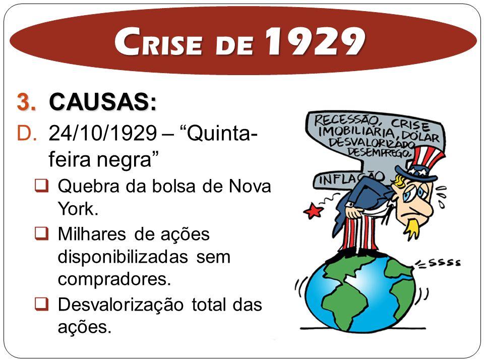 CRISE DE 1929 CAUSAS: 24/10/1929 – Quinta- feira negra