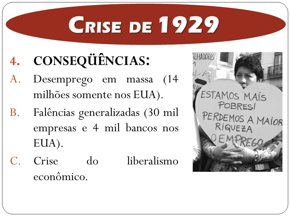 CRISE DE 1929 CONSEQÜÊNCIAS: