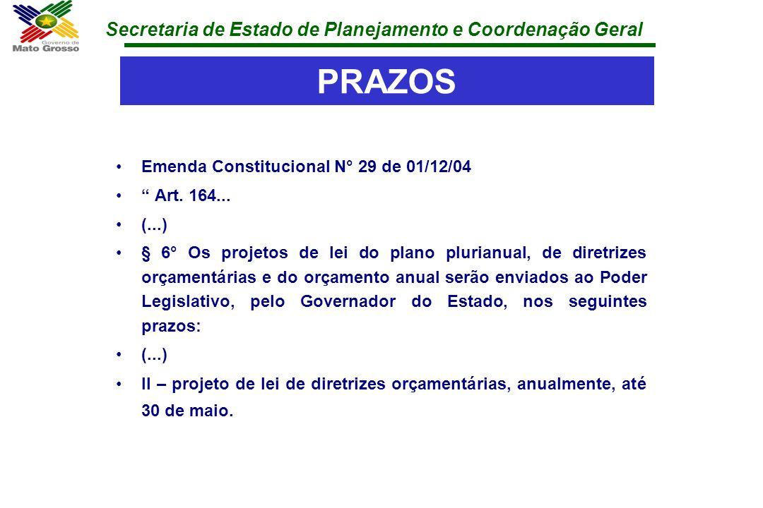 PRAZOS Emenda Constitucional N° 29 de 01/12/04 Art. 164... (...)