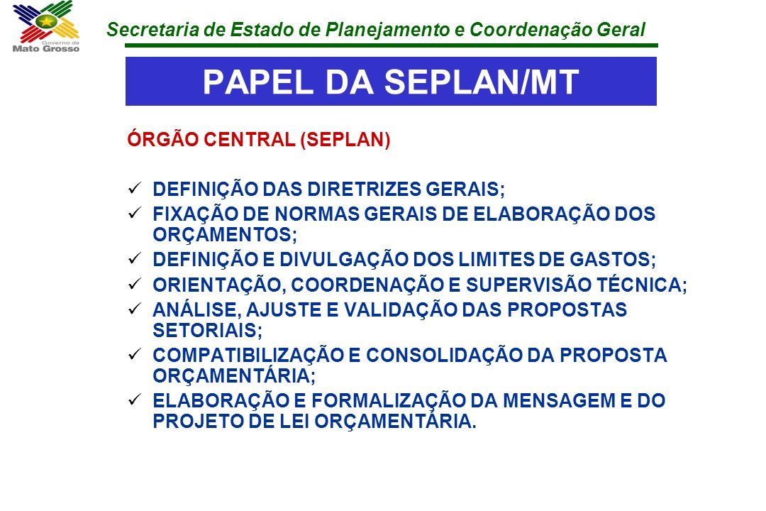 PAPEL DA SEPLAN/MT ÓRGÃO CENTRAL (SEPLAN)