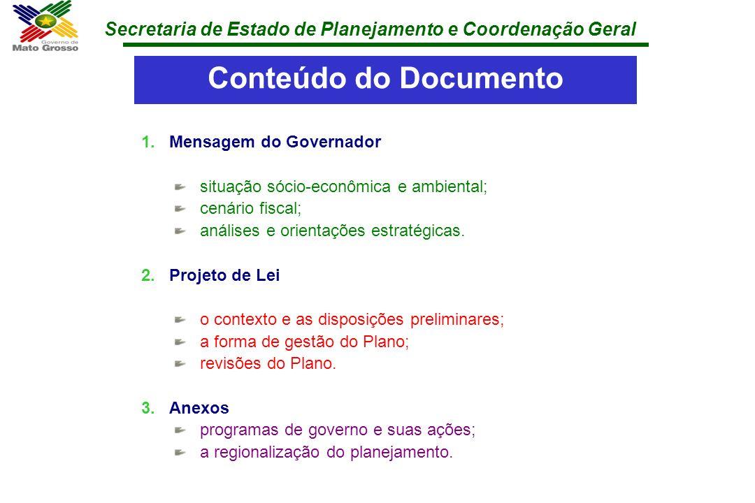 Conteúdo do Documento Mensagem do Governador