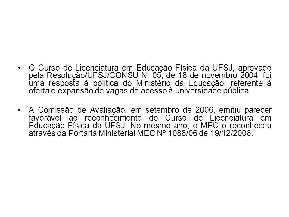 O Curso de Licenciatura em Educação Física da UFSJ, aprovado pela Resolução/UFSJ/CONSU N. 05, de 18 de novembro 2004, foi uma resposta à política do Ministério da Educação, referente à oferta e expansão de vagas de acesso à universidade pública.