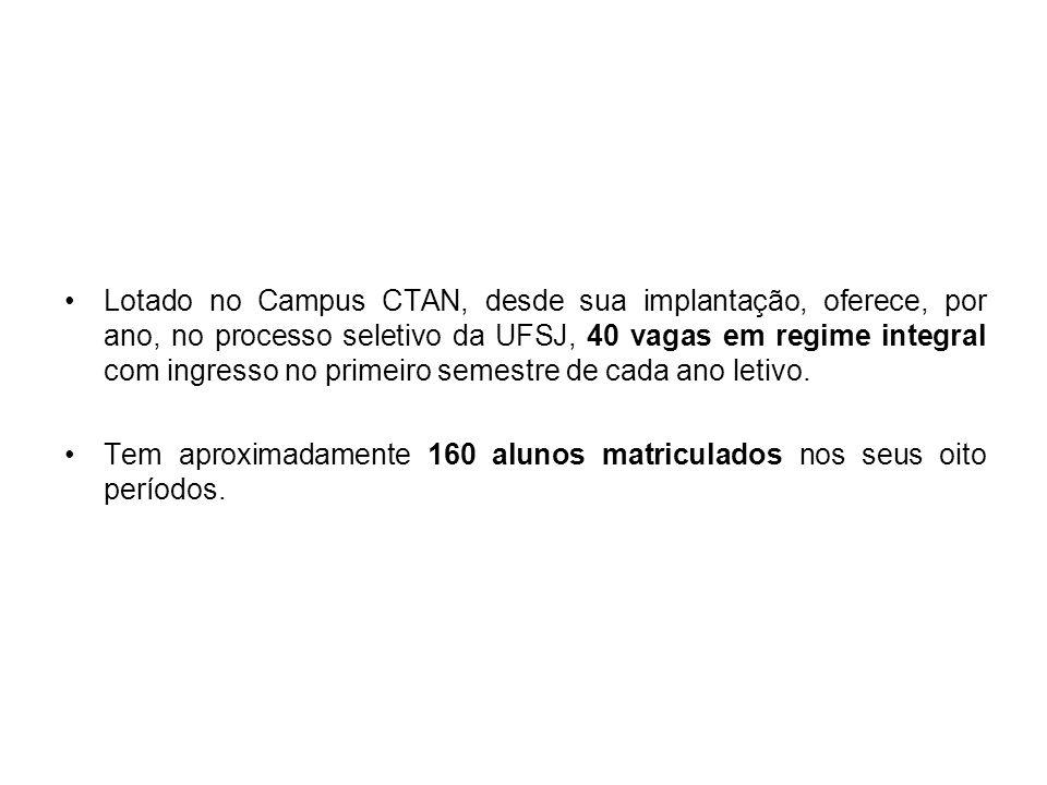 Lotado no Campus CTAN, desde sua implantação, oferece, por ano, no processo seletivo da UFSJ, 40 vagas em regime integral com ingresso no primeiro semestre de cada ano letivo.