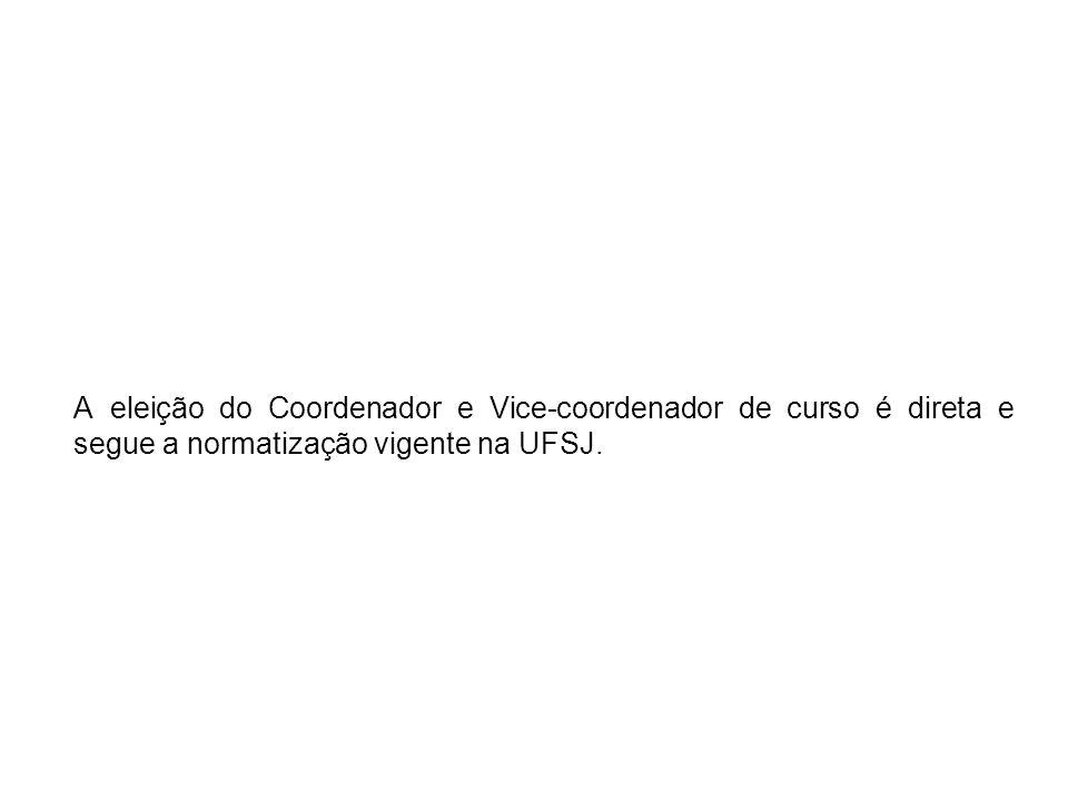 A eleição do Coordenador e Vice-coordenador de curso é direta e segue a normatização vigente na UFSJ.